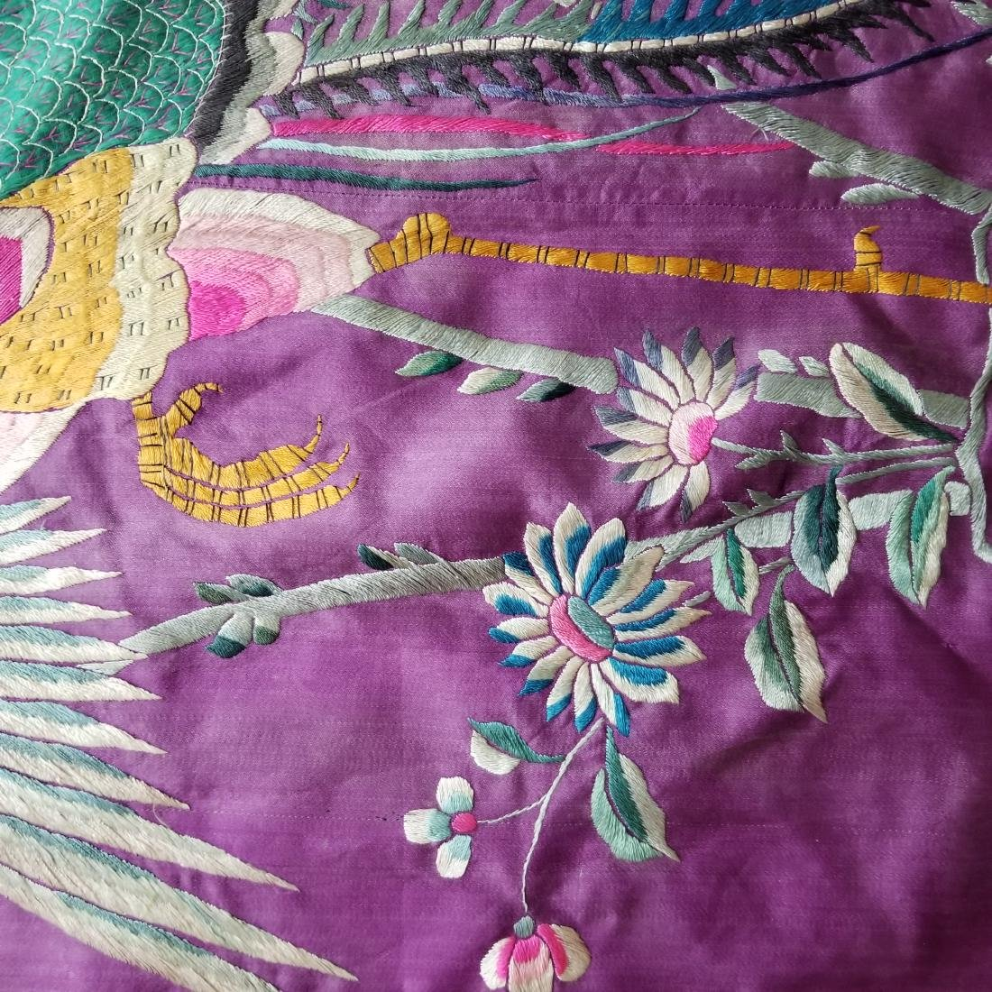Antique Chinese Silk Hand Embroidered Panel Qing - 4
