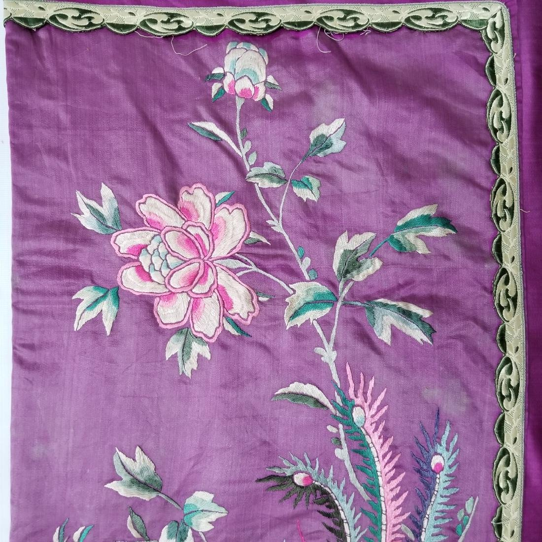 Antique Chinese Silk Hand Embroidered Panel Qing - 7