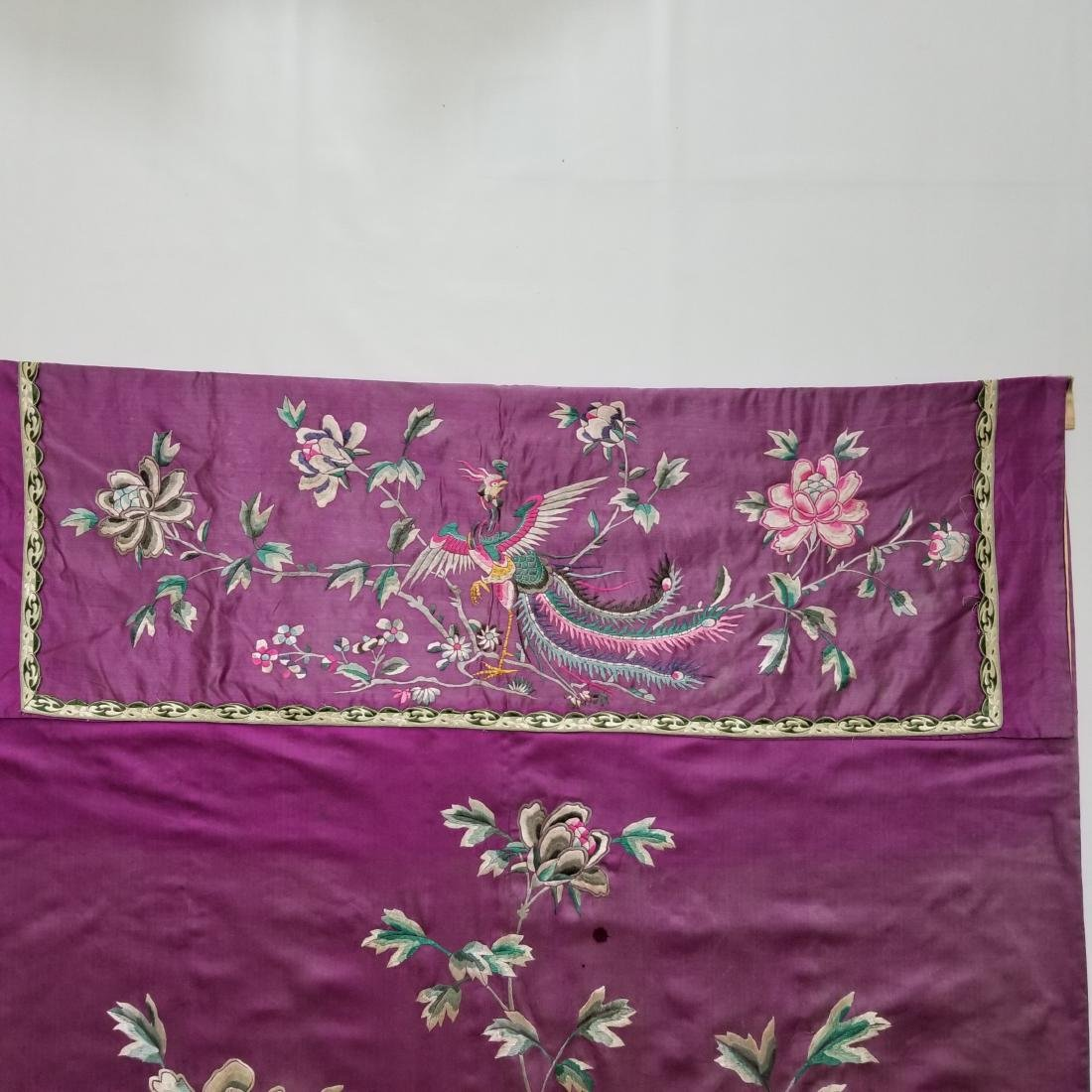 Antique Chinese Silk Hand Embroidered Panel Qing - 8