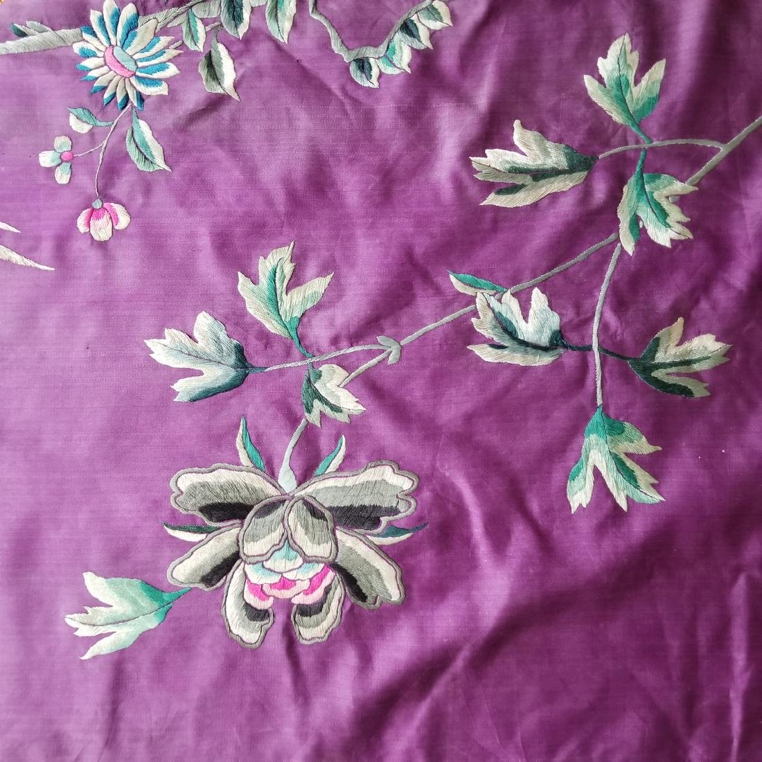 Antique Chinese Silk Hand Embroidered Panel Qing - 9