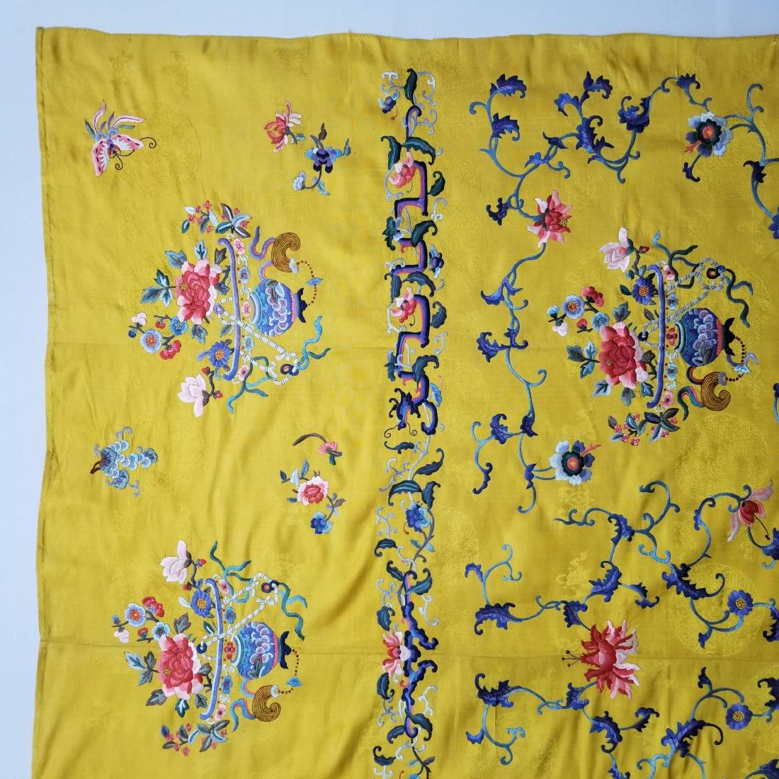 Antique Chinese Silk Hand Embroidered Panel - 10