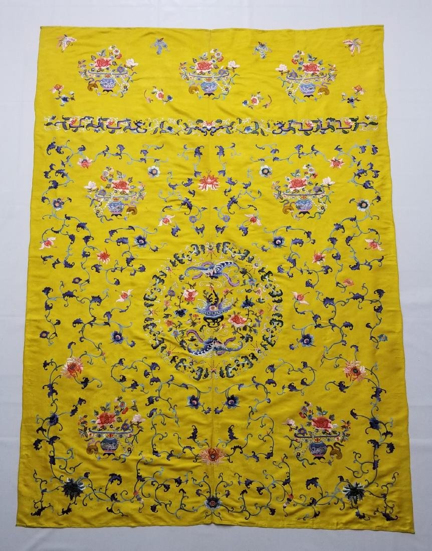 Antique Chinese Silk Hand Embroidered Panel