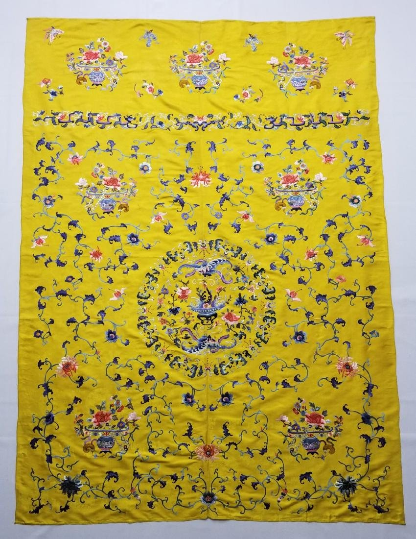 Antique Chinese Silk Hand Embroidered Panel - 2