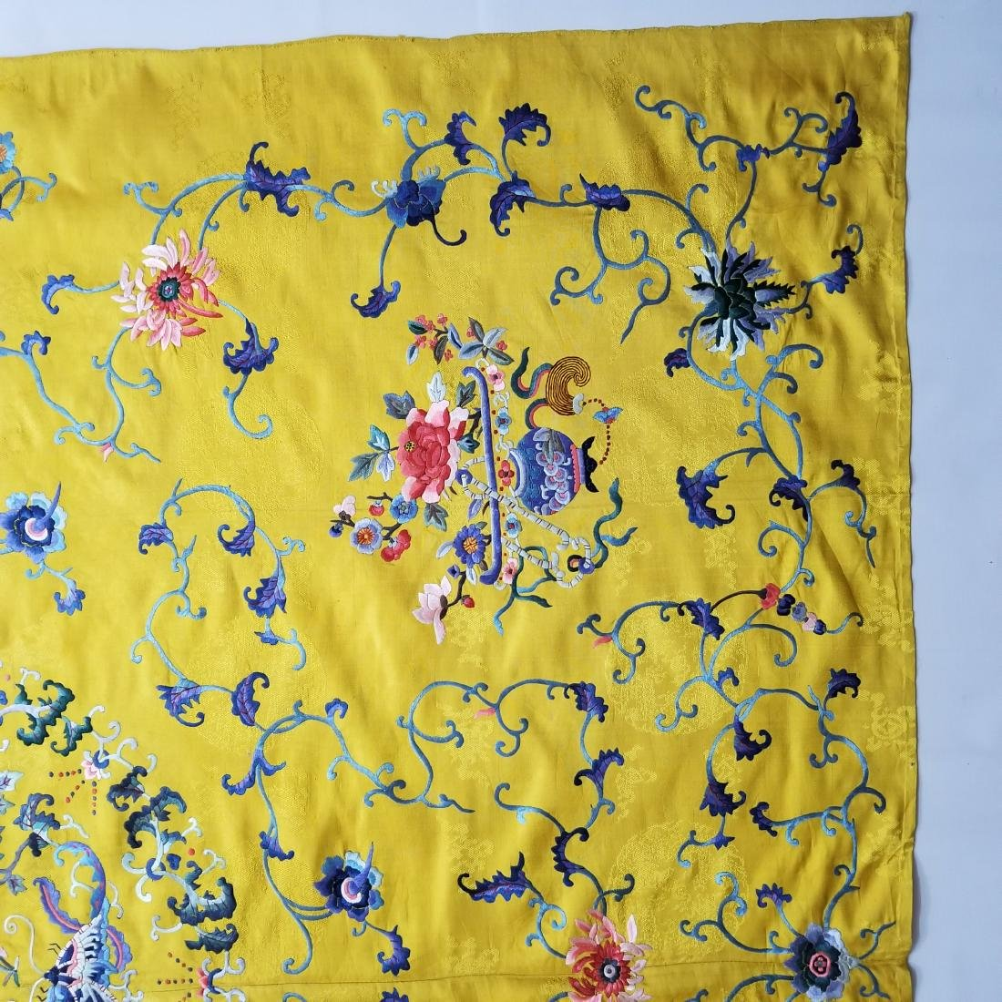 Antique Chinese Silk Hand Embroidered Panel - 8