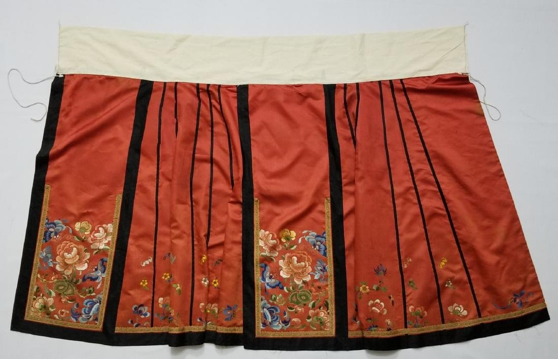 Antique Chinese Silk Hand Embroidered Skirt