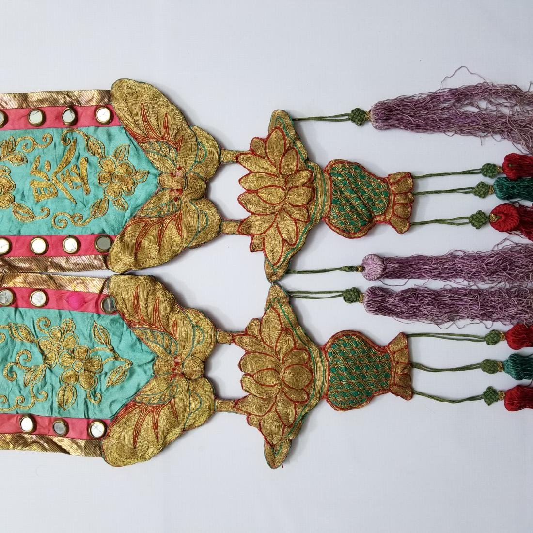 Pair of Antique Chinese Embroidered Panels - 5