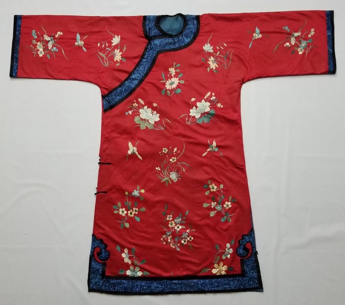 Antique Chinese Silk Hand Embroidered Silk Robe