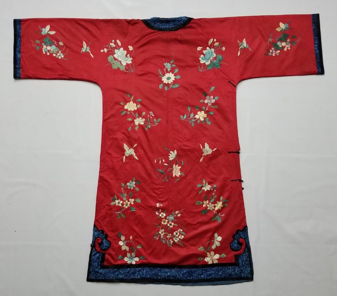 Antique Chinese Silk Hand Embroidered Silk Robe - 2