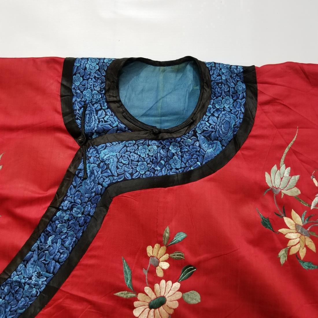 Antique Chinese Silk Hand Embroidered Silk Robe - 6