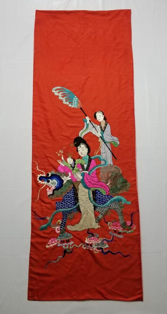 Antique Chinese Silk Hand Embroidered Figural Panel