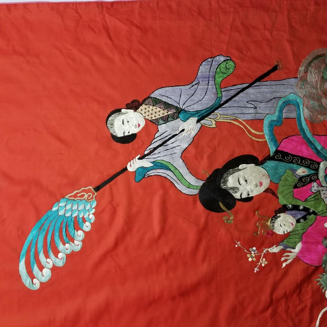 Antique Chinese Silk Hand Embroidered Figural Panel - 2