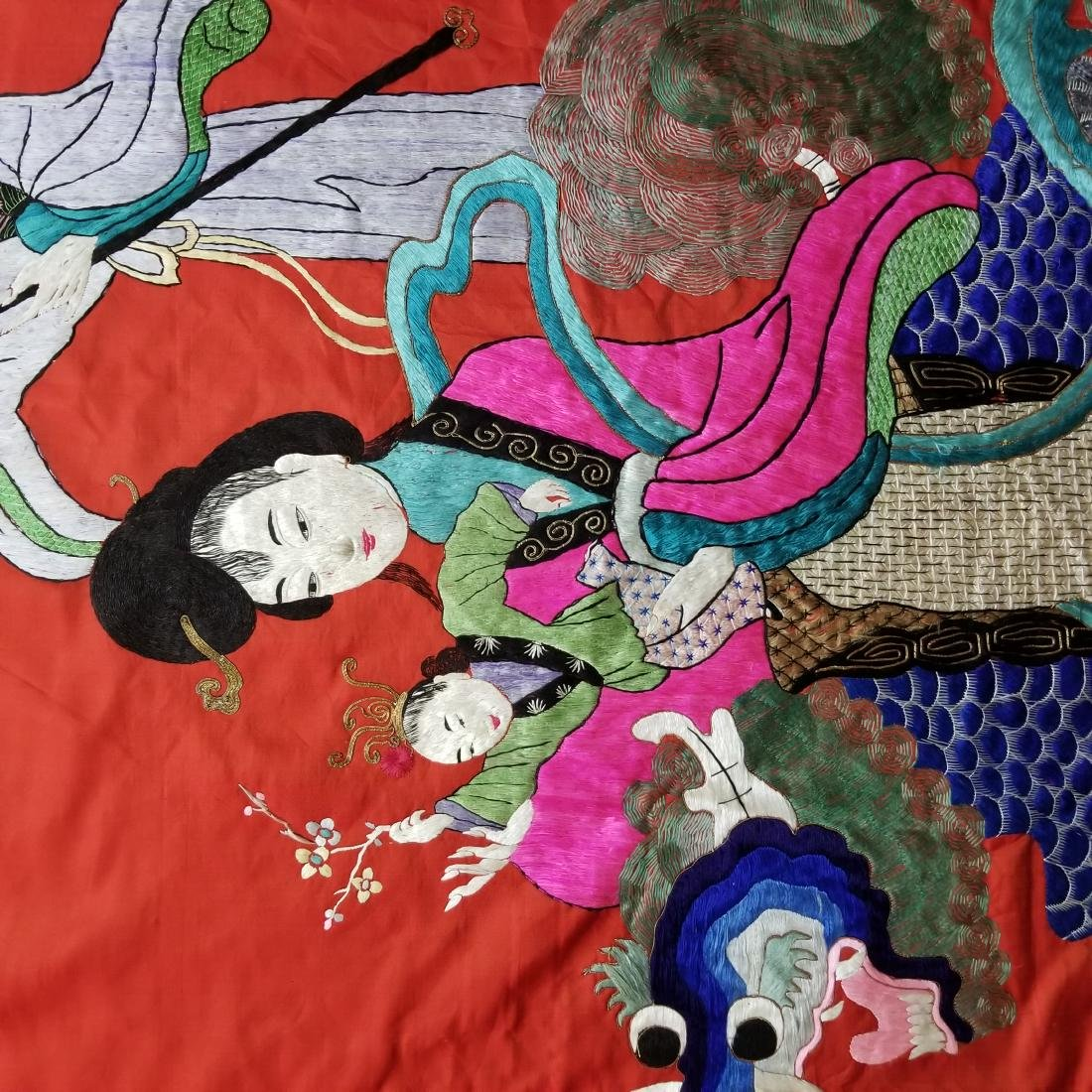 Antique Chinese Silk Hand Embroidered Figural Panel - 3