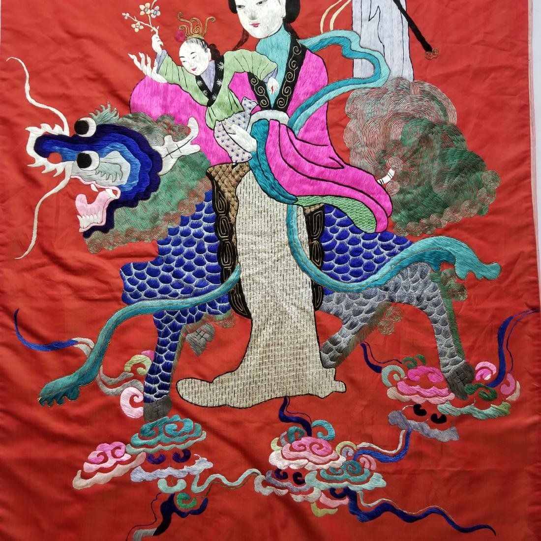 Antique Chinese Silk Hand Embroidered Figural Panel - 4