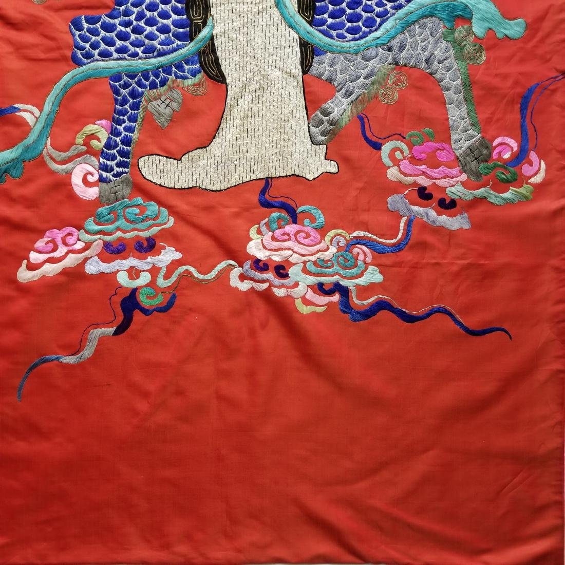 Antique Chinese Silk Hand Embroidered Figural Panel - 5