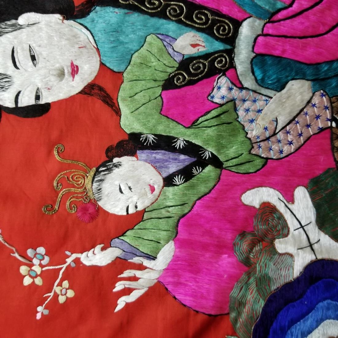 Antique Chinese Silk Hand Embroidered Figural Panel - 7