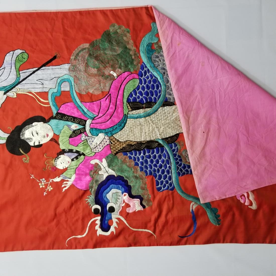 Antique Chinese Silk Hand Embroidered Figural Panel - 9
