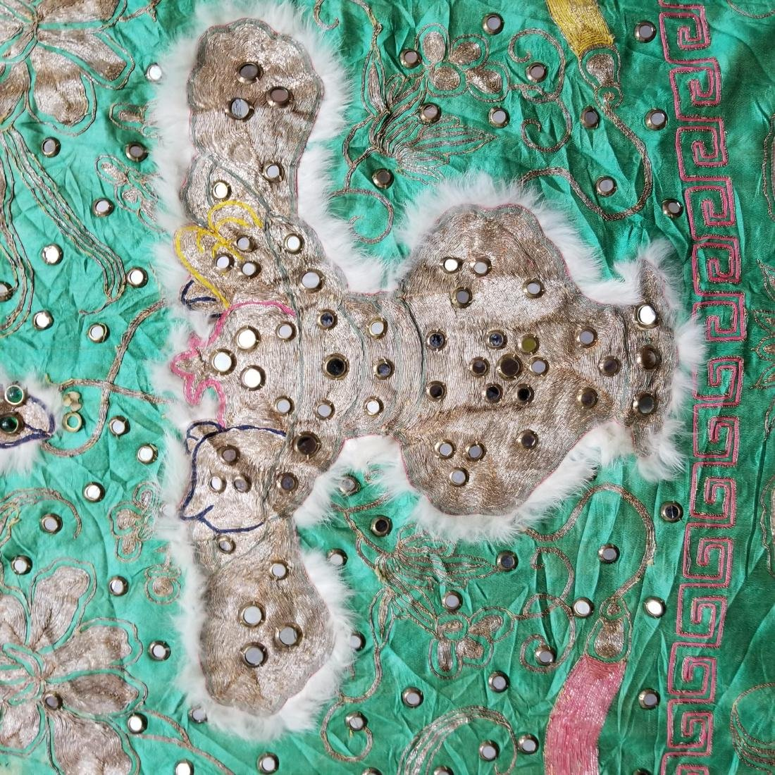 Antique Chinese Unusual Silk Robe with Silver Threads - 10
