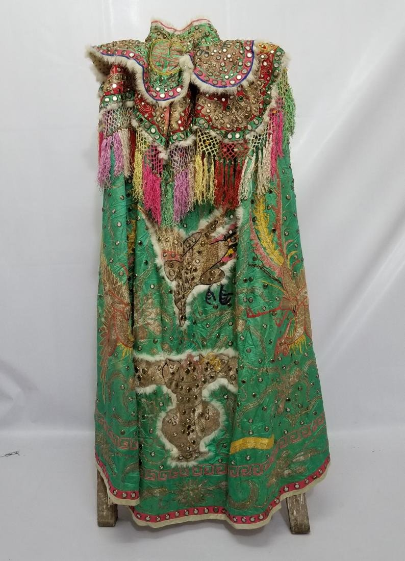 Antique Chinese Unusual Silk Robe with Silver Threads