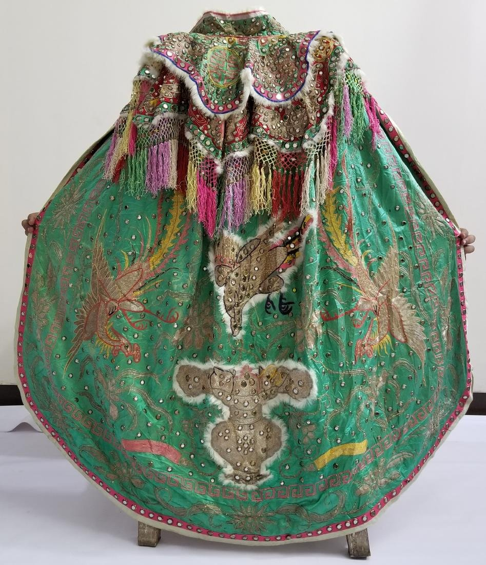 Antique Chinese Unusual Silk Robe with Silver Threads - 2