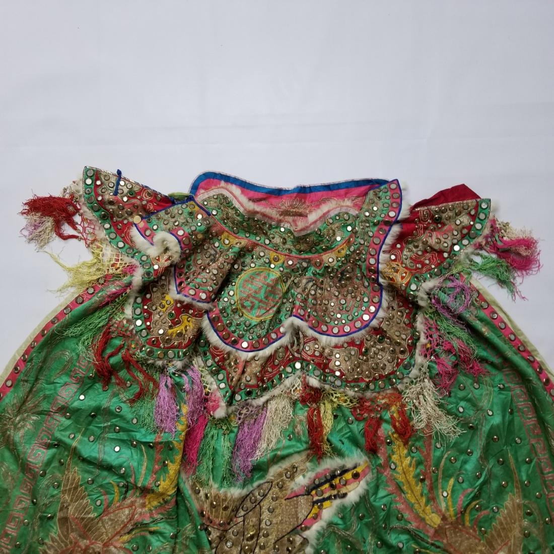 Antique Chinese Unusual Silk Robe with Silver Threads - 5