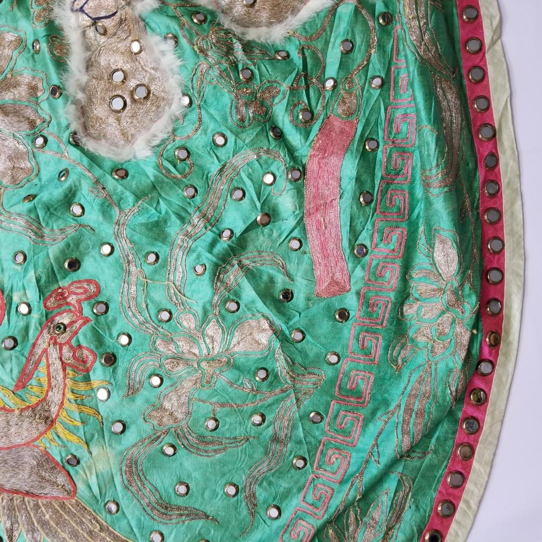 Antique Chinese Unusual Silk Robe with Silver Threads - 7