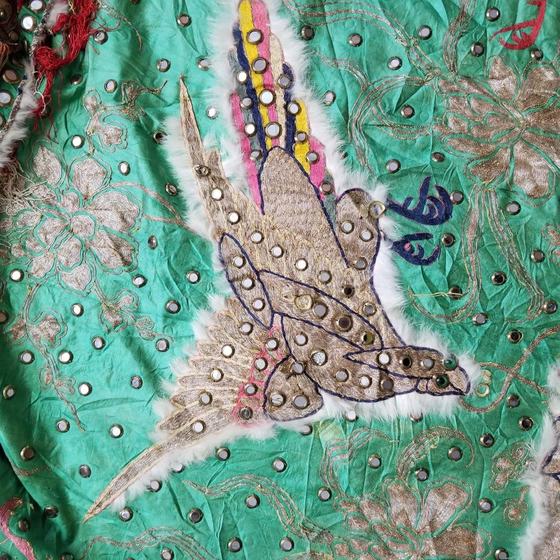 Antique Chinese Unusual Silk Robe with Silver Threads - 9