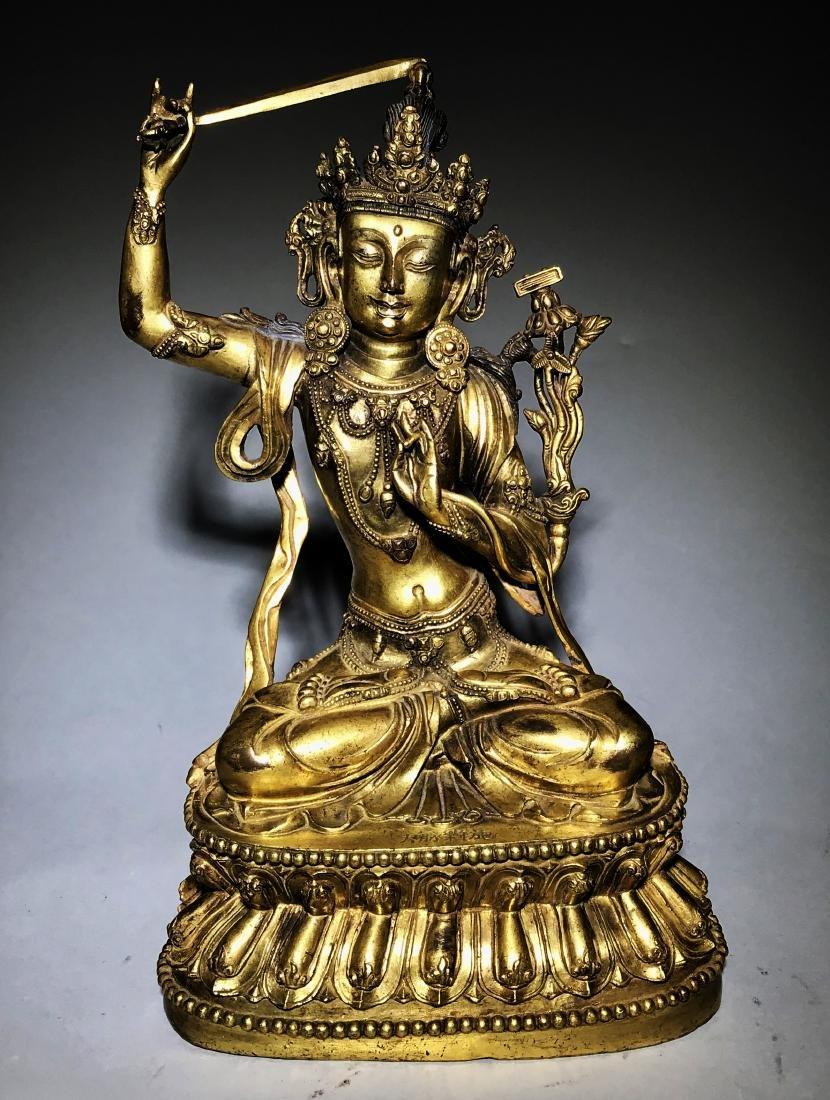Ming Yongle Marked Gilt-Bronze Figure of Buddha