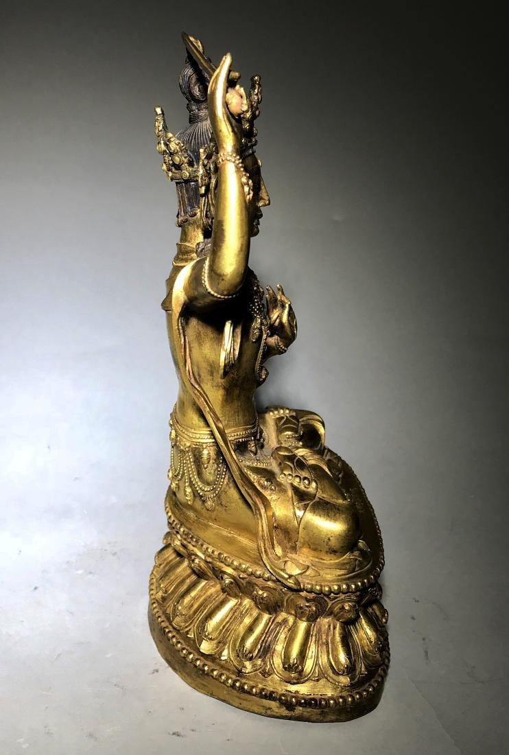Ming Yongle Marked Gilt-Bronze Figure of Buddha - 4
