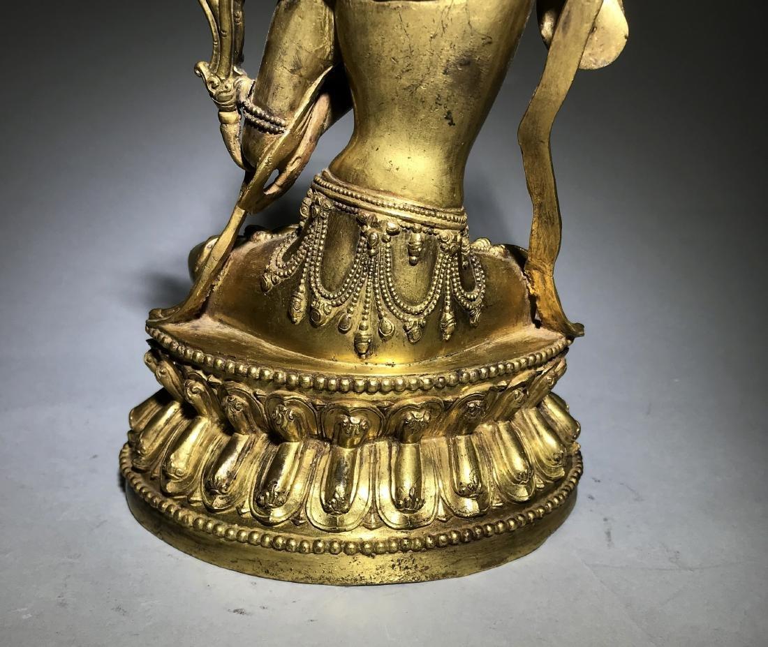 Ming Yongle Marked Gilt-Bronze Figure of Buddha - 7