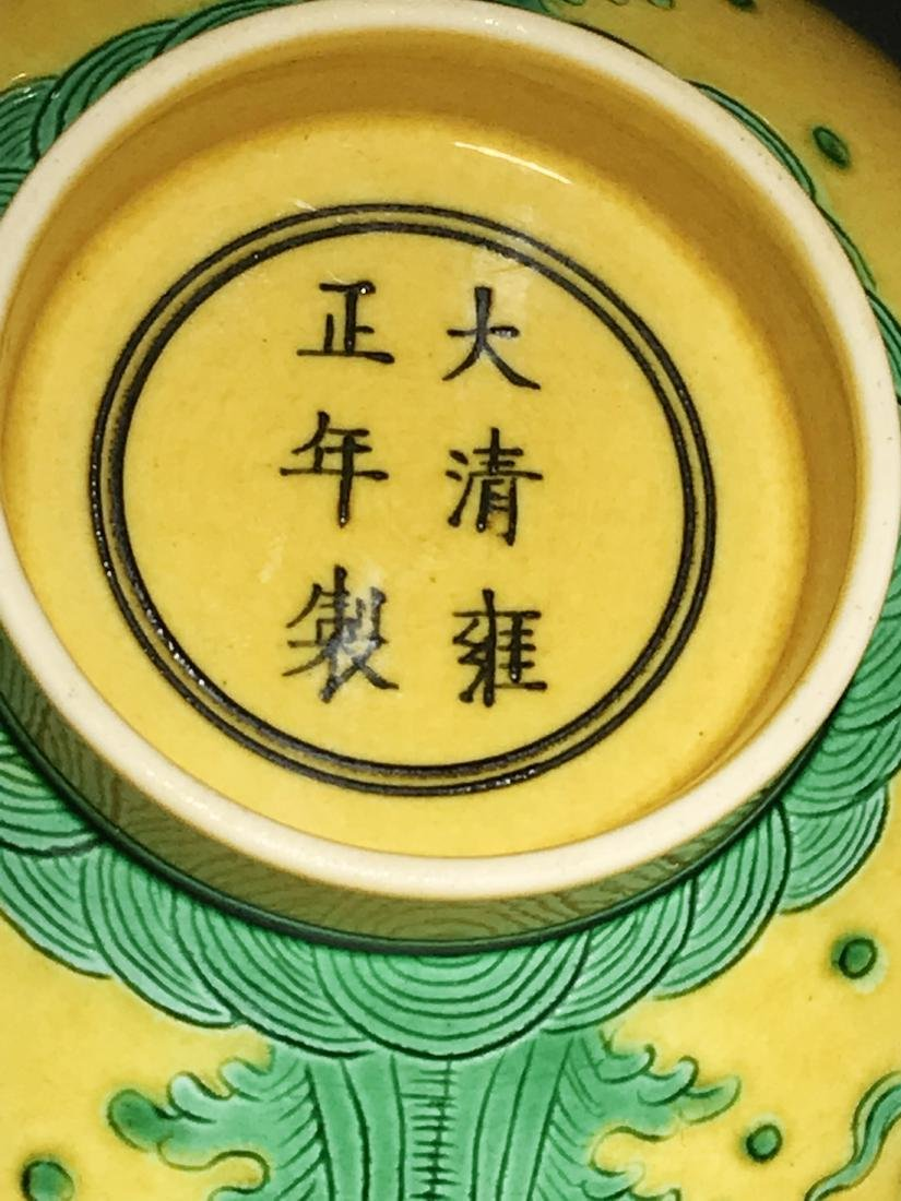Pair Marked Yongzheng Yellow Groung 'Crane' Bowls - 8