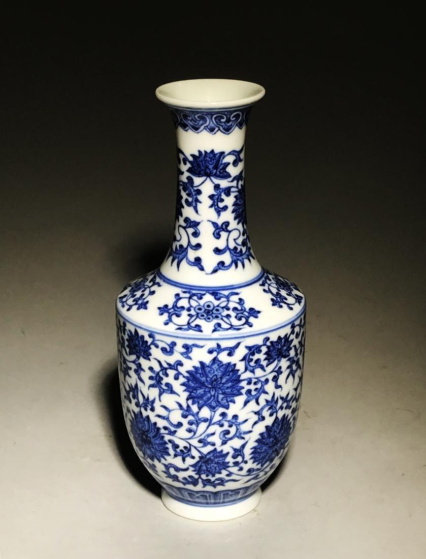 Marked Yongzheng Blue And White Bottle Vase