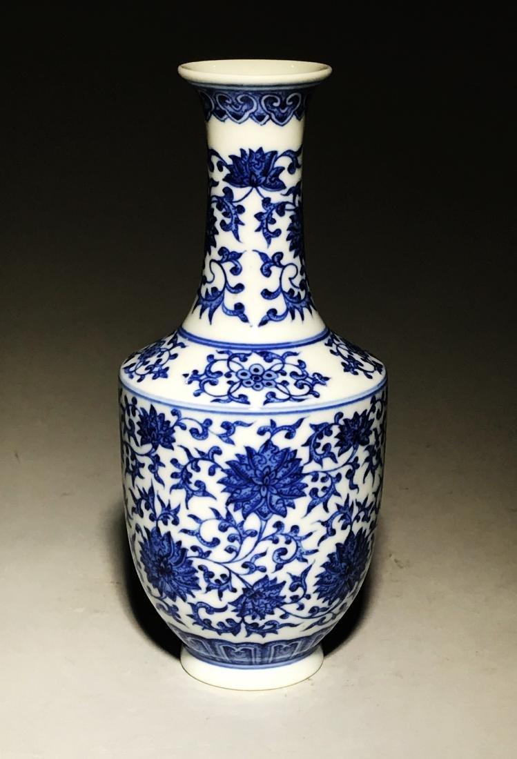 Marked Yongzheng Blue And White Bottle Vase - 2