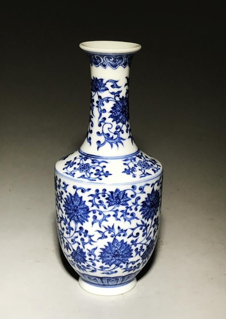 Marked Yongzheng Blue And White Bottle Vase - 3