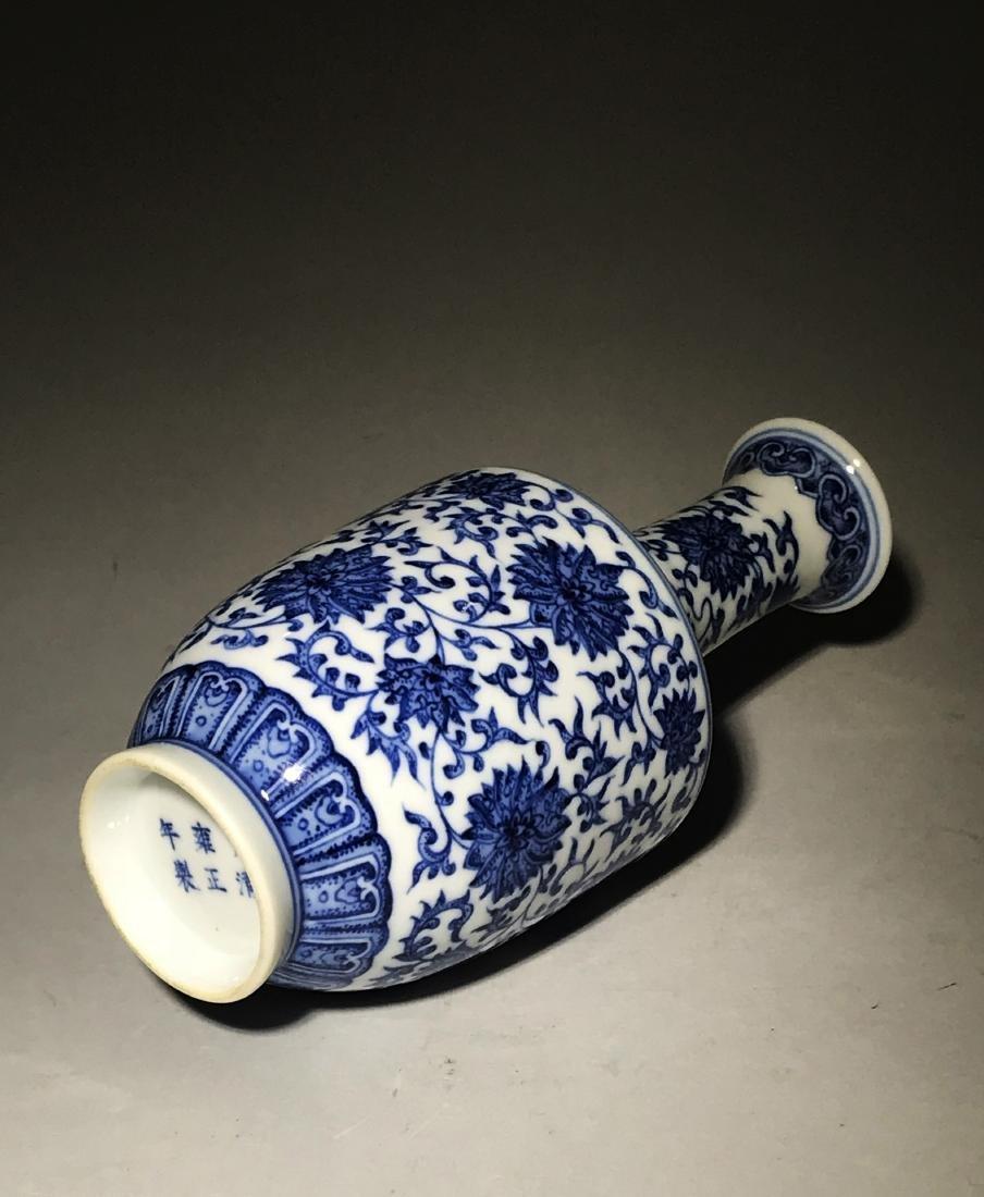 Marked Yongzheng Blue And White Bottle Vase - 6