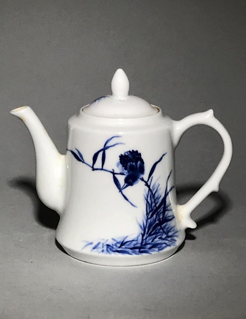 Marked Wang Bu Blue And White Teapot