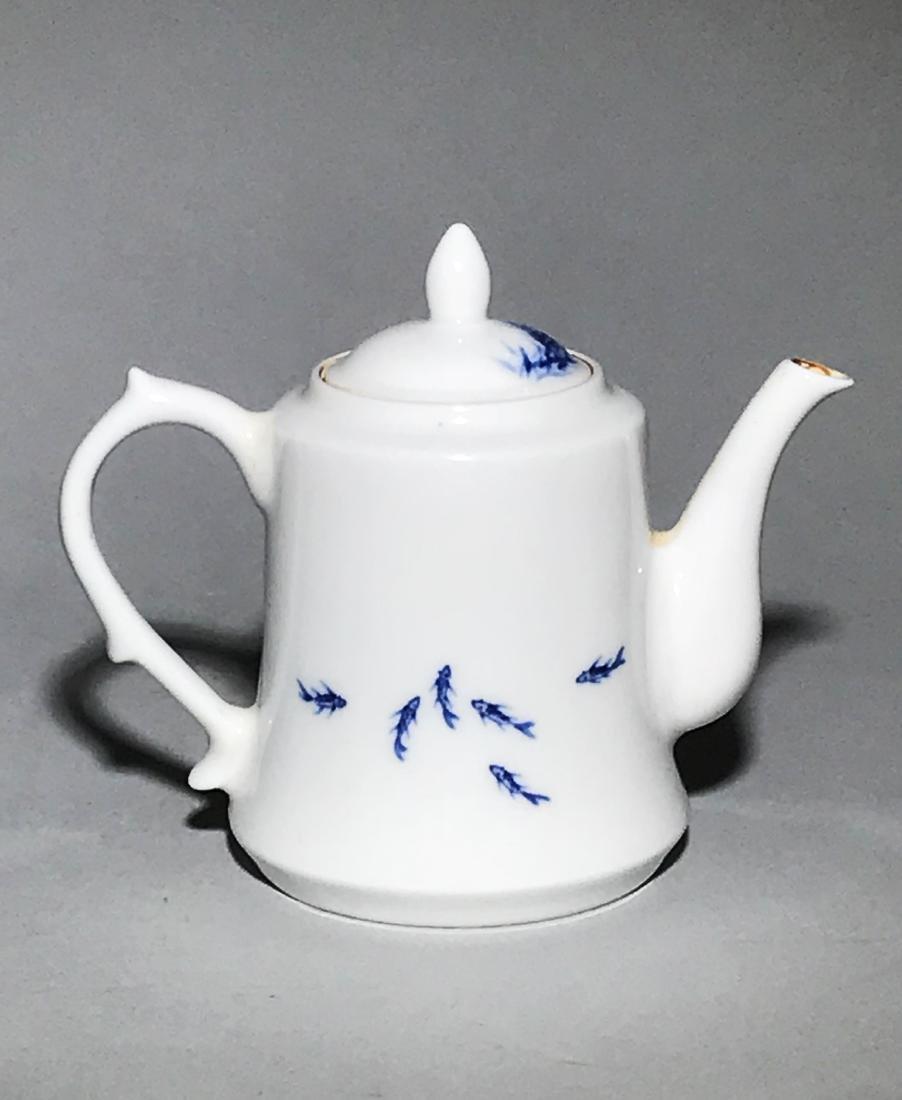 Marked Wang Bu Blue And White Teapot - 2