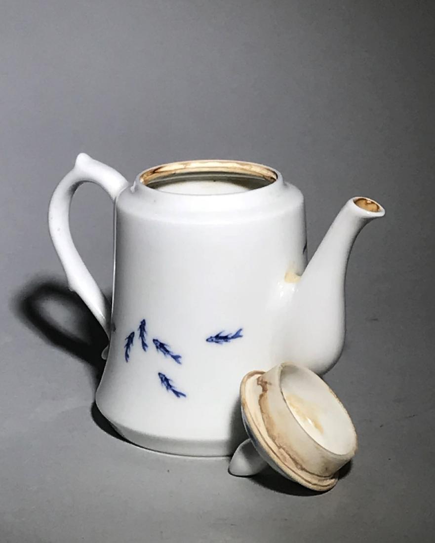 Marked Wang Bu Blue And White Teapot - 5