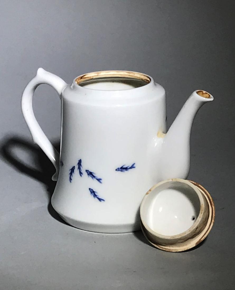 Marked Wang Bu Blue And White Teapot - 6
