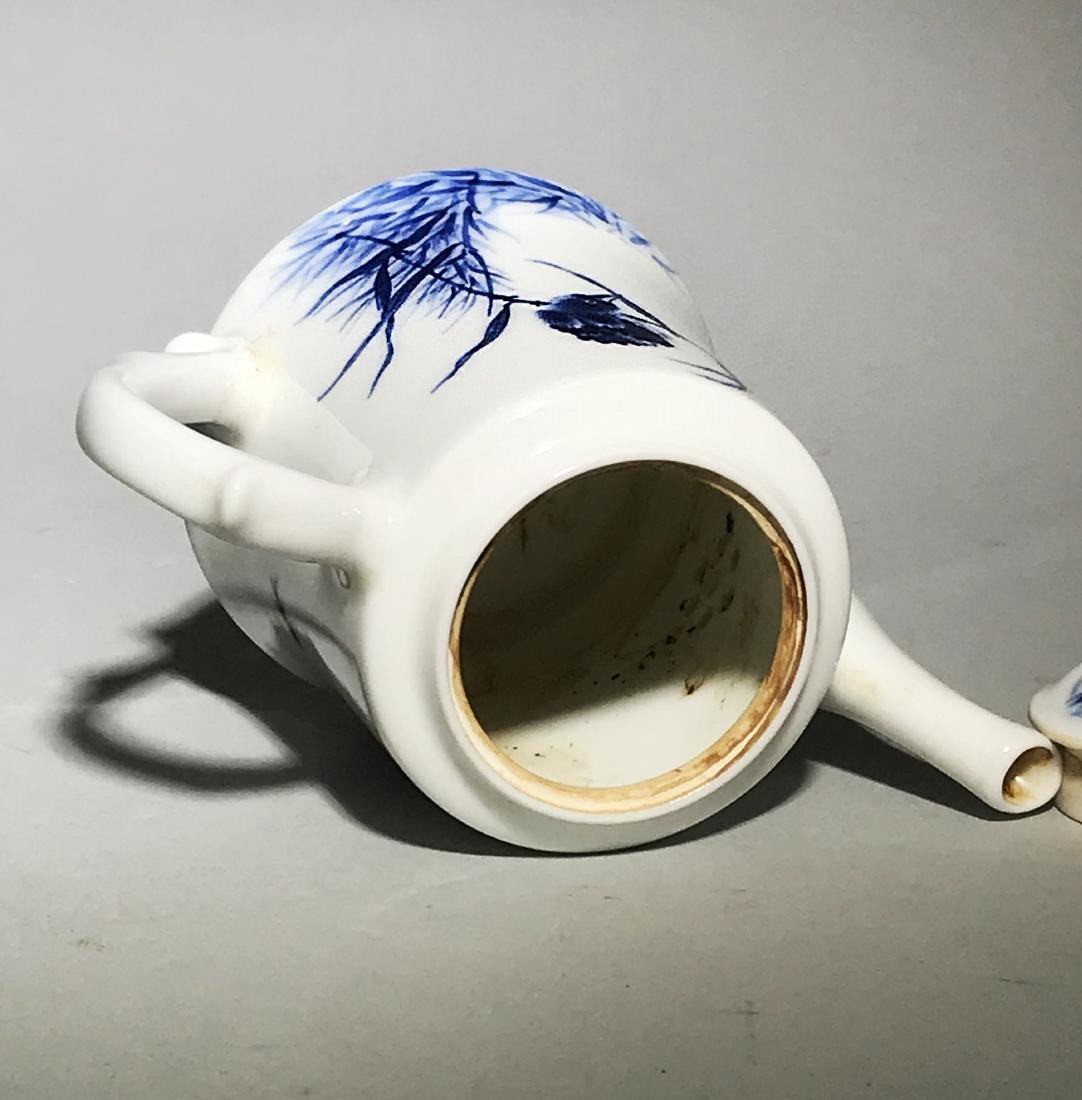 Marked Wang Bu Blue And White Teapot - 7