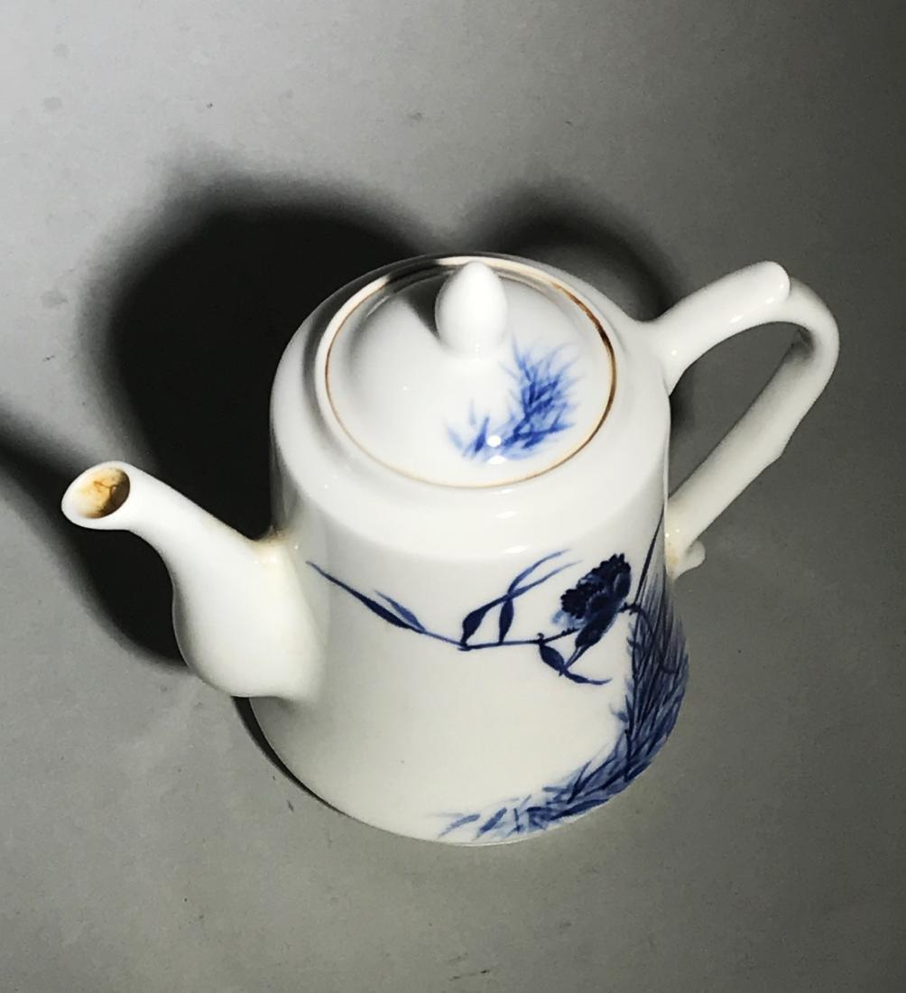 Marked Wang Bu Blue And White Teapot - 8