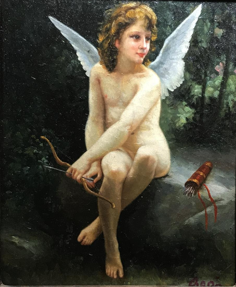A Signed Western Painting 'Angel' - 3