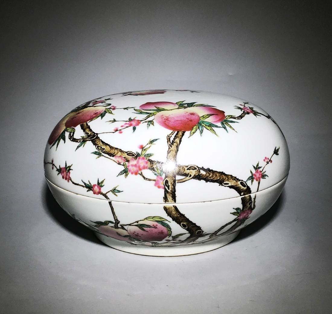 Marked Qianlong Famille Rose 'Nine Peach' Box