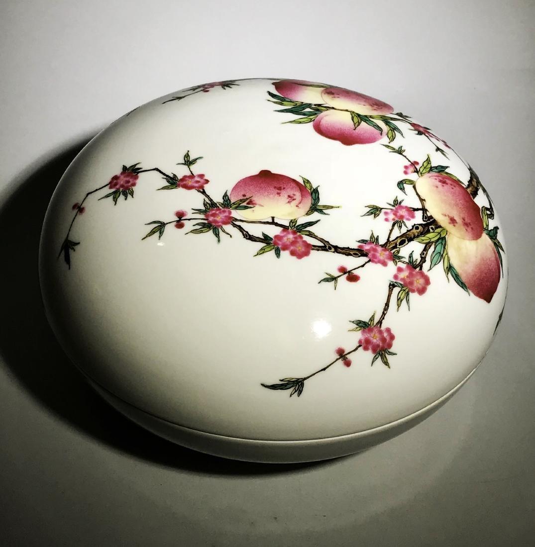 Marked Qianlong Famille Rose 'Nine Peach' Box - 4