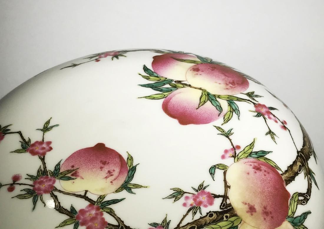 Marked Qianlong Famille Rose 'Nine Peach' Box - 5