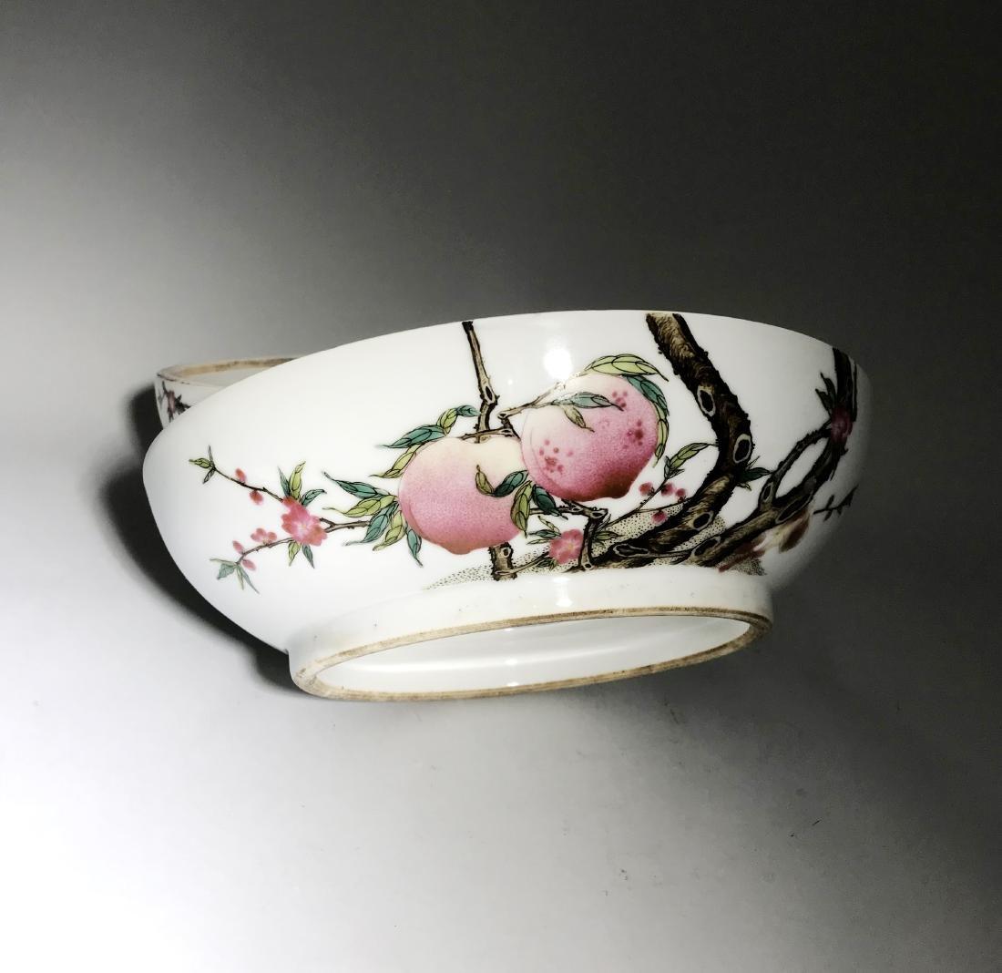 Marked Qianlong Famille Rose 'Nine Peach' Box - 9