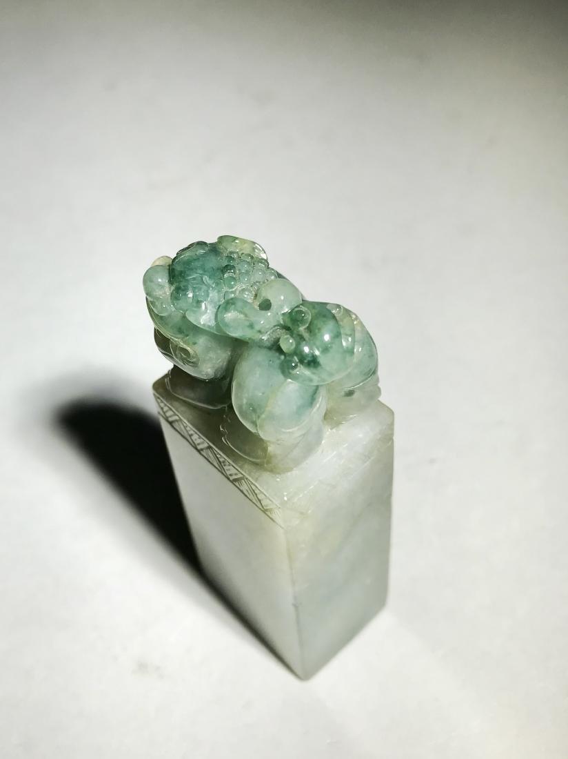 A Jadeite Seal Surmounted by Lion
