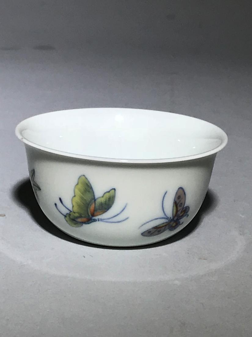 Yongzheng Marked Doucai 'Butterfly' Cup - 2