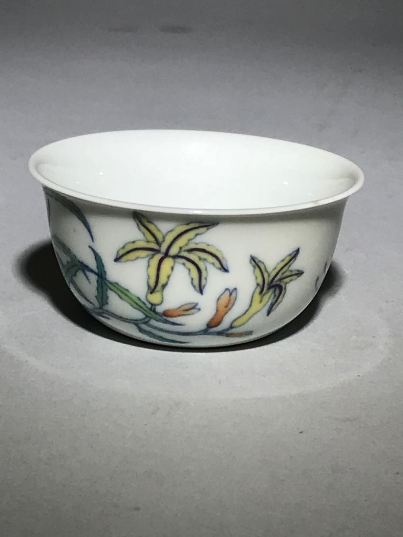 Yongzheng Marked Doucai 'Butterfly' Cup - 3