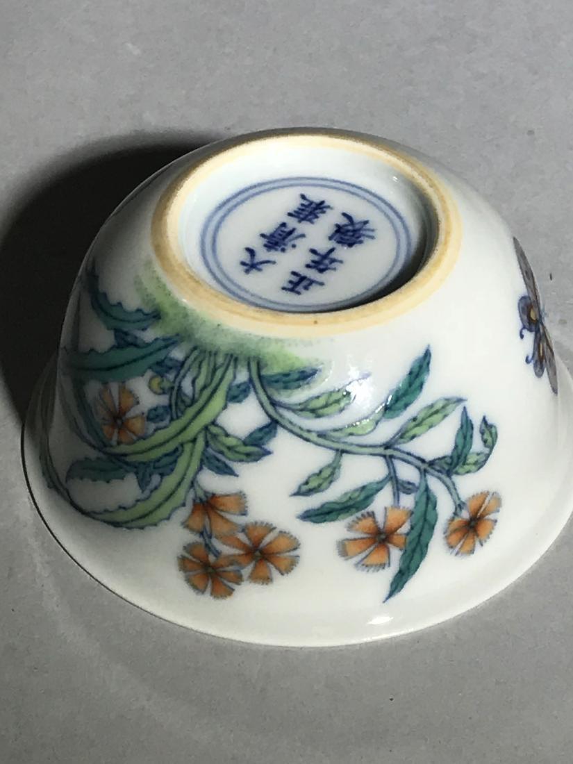 Yongzheng Marked Doucai 'Butterfly' Cup - 6