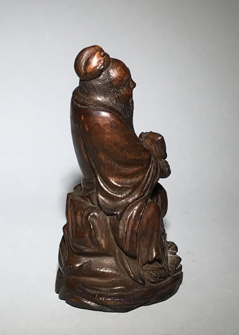 A Qing Bamboo Carved Figure - 2